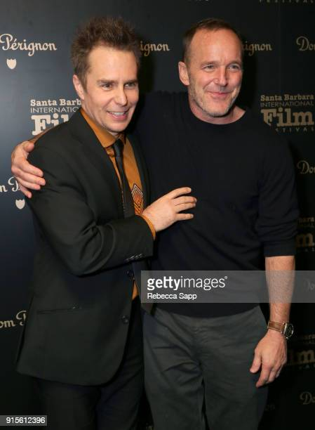 Actors Sam Rockwell and Clark Gregg pose backstage at The American Riviera Award Honoring Sam Rockwell during The 33rd Santa Barbara International...