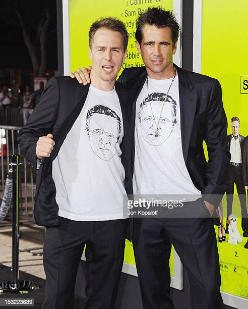 Actors Sam Rockwell and Colin Farrell arrive at the Los Angeles Premiere 'Seven Psychopaths' at Mann Bruin Theatre on October 1 2012 in Westwood...
