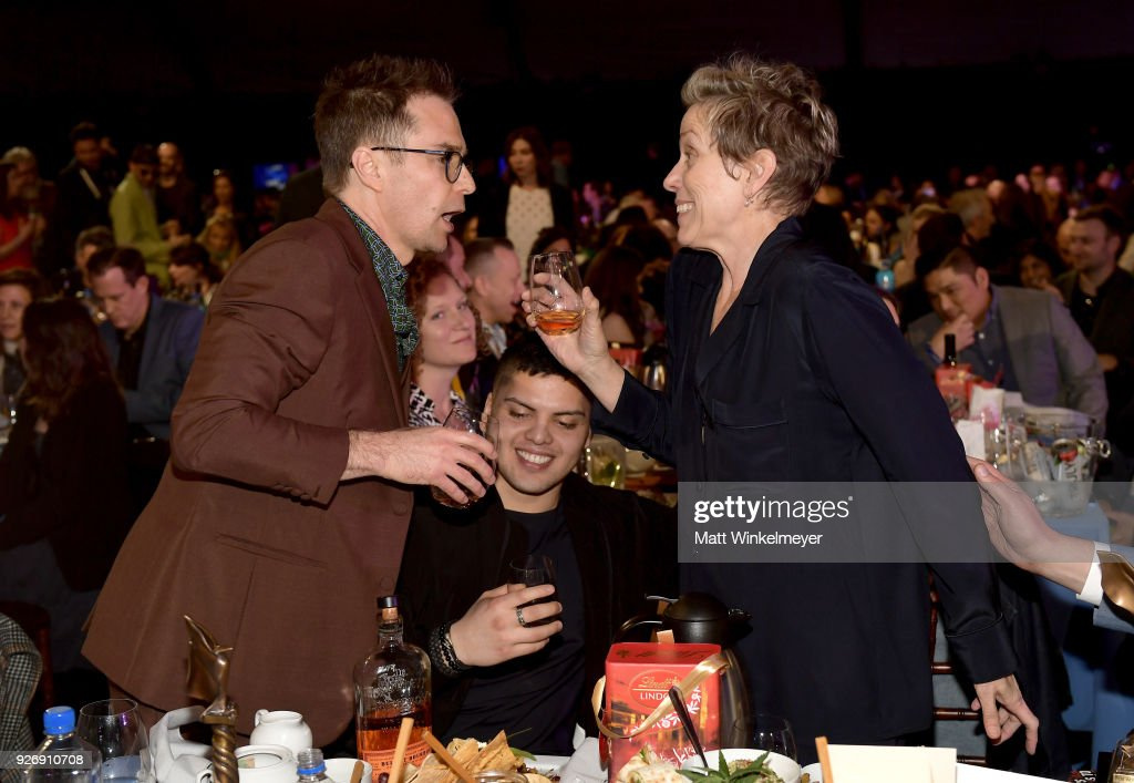 Actors Sam Rockwell and Frances McDormand celebrate during the 2018 Film Independent Spirit Awards on March 3, 2018 in Santa Monica, California.