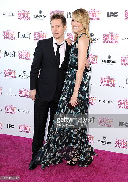 Actors Sam Rockwell and Leslie Bibb attend the 2013 Film Independent Spirit Awards at Santa Monica Beach on February 23 2013 in Santa Monica...
