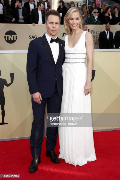 Actors Sam Rockwell and Leslie Bibb attend the 24th Annual Screen Actors Guild Awards at The Shrine Auditorium on January 21 2018 in Los Angeles...