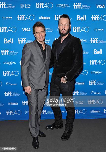 Actors Sam Rockwell and Michael Eklund attend the 'Mr Right' press conference at the 2015 Toronto International Film Festival at TIFF Bell Lightbox...