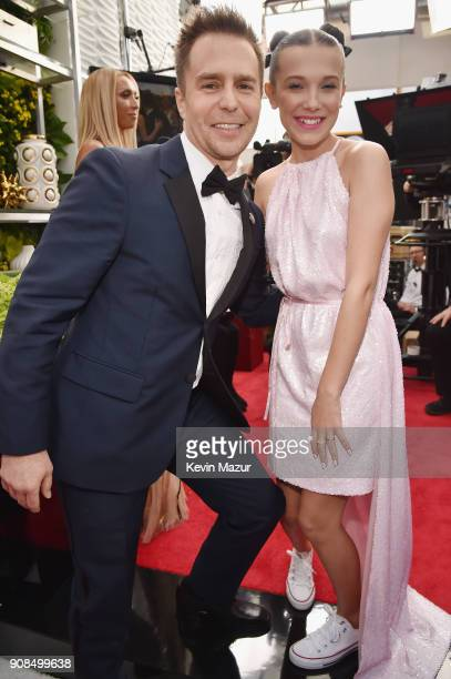 Actors Sam Rockwell and Millie Bobby Brown attend the 24th Annual Screen Actors Guild Awards at The Shrine Auditorium on January 21 2018 in Los...