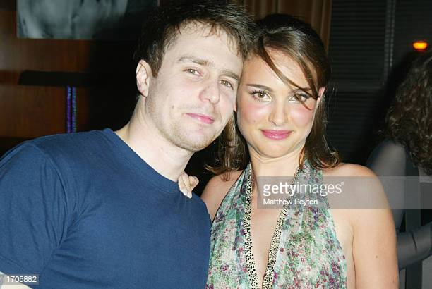 Actors Sam Rockwell and Natalie Portman celebrate together at the Natalie Portman/Britney Spears hosted New Year's Eve Party at the Hudson Hotel on...