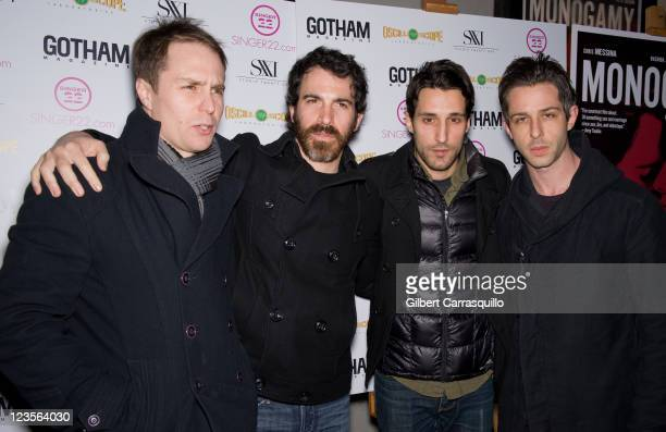 Actors Sam Rockwell Chris Messina Michael Godere and guest attend the New York screening of Monogamy at the IFC Center on March 7 2011 in New York...