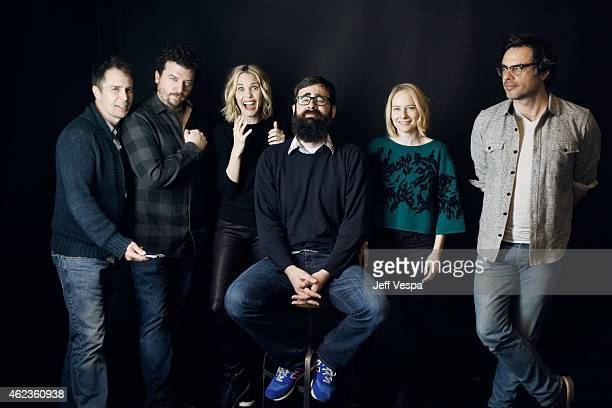Actors Sam Rockwell Danny McBride Leslie Bibb writer/director Jared Hess actors Amy Ryan and Jemaine Clement of 'Don Verdean' pose for a portrait at...