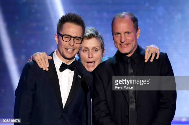 Actors Sam Rockwell Frances McDormand and Woody Harrelson speak onstage during the 24th Annual Screen Actors Guild Awards at The Shrine Auditorium on...