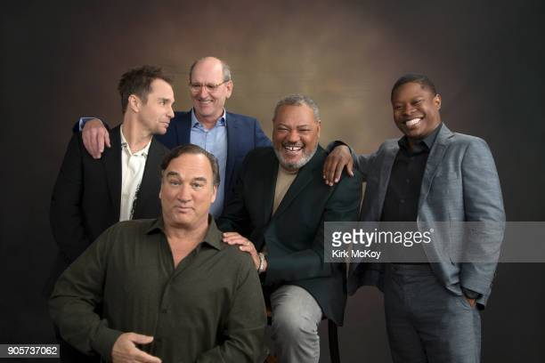 Actors Sam Rockwell Jim Belushi Richard Jenkins Laurence Fishburne and Jason Mitchell are photographed for Los Angeles Times on November 12 2017 in...