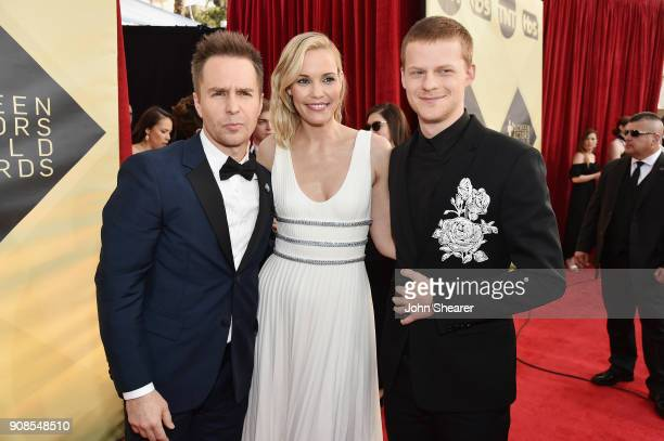 Actors Sam Rockwell Leslie Bibb and Lucas Hedges attend the 24th Annual Screen Actors Guild Awards at The Shrine Auditorium on January 21 2018 in Los...