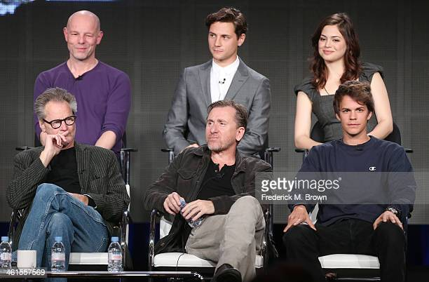 Actors Sam Shepard Tim Roth Johnny Simmons Simon Cellan Jones Director actors Augustus Prew and Conor Leslie speak onstage during the 'Discovery...