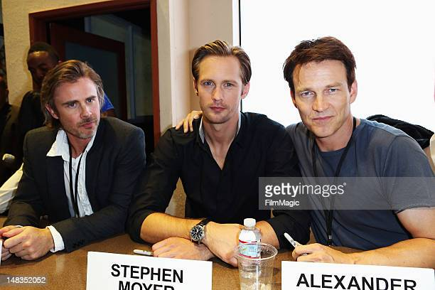 Actors Sam Trammell Alexander Skarsgard and Stephen Moyer attend HBO's True Blood during ComicCon International 2012 at San Diego Convention Center...