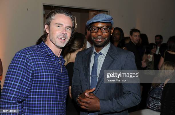 Actors Sam Trammell and Nelsan Ellis arrives at the Nelsan Ellis Hosts HBO's 'True Blood' Crew Appreciation Party held at the The Carlyle Residences...