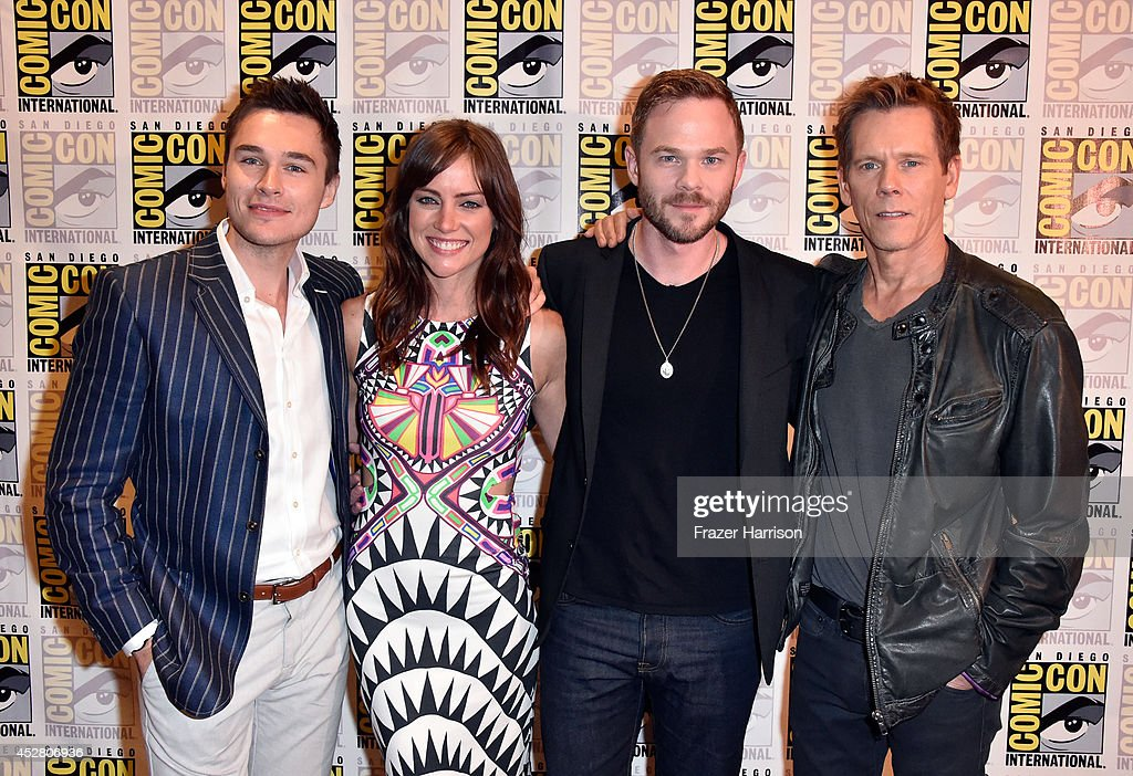Actors Sam Underwood, Jessica Stroup, Shawn Ashmore and Kevin Bacon attend FOX's 'The Following' press line during Comic-Con International 2014 at Hilton Bayfront on July 27, 2014 in San Diego, California.