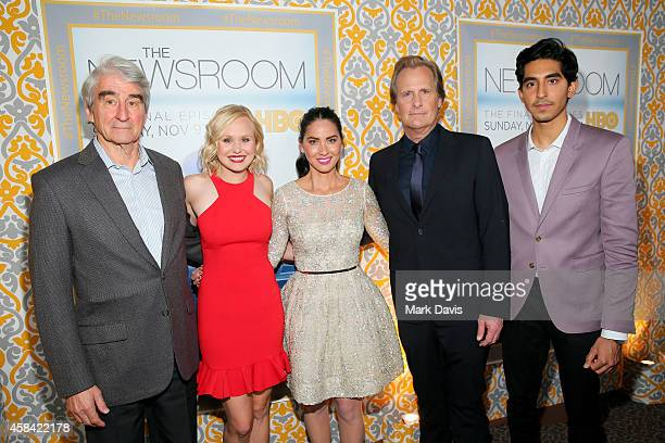 Actors Sam Waterston Alison Pill Olivia Munn Jeff Daniels and Dev Patel attend the Premiere of HBO's The Newsroom Season 3 at Directors Guild Of...