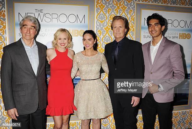 Actors Sam Waterston Alison Pill Olivia Munn Jeff Daniels Dev Patel attend the Los Angeles season 3 premiere of HBO's series 'The Newsroom' held at...