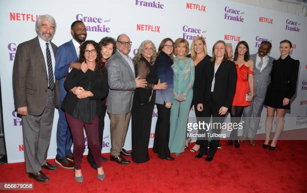 Actors Sam Waterston and Baron Vaughn exceutive producer Marcy Ross actress Lily Tomlin executive producers Howard Moirris Marta Kaufman and Dana...