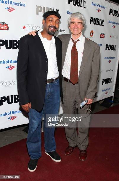 Actors Sam Waterston and Jesse L Martin attend the opening night celebration for 'The Winter's Tale' at Shakespeare in the Park at the Delacorte...