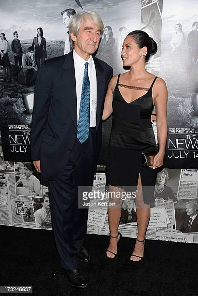 Actors Sam Waterston and Olivia Munn attend the premiere of HBO's The Newsroom Season 2 at Paramount Theater on the Paramount Studios lot on July 10...