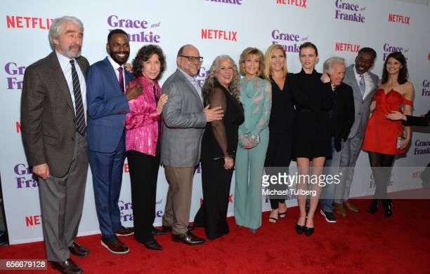 Actors Sam Waterston Baron Vaughn and Lily Tomlin executive producers Howard Moirris and Marta Kaufman and actors Jane Fonda June Diane Raphael...
