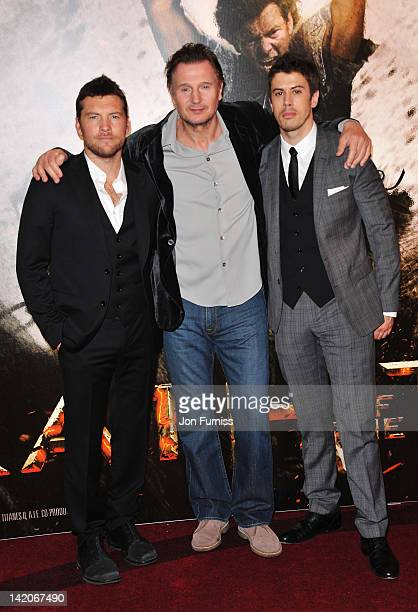 "Actors Sam Worthington, Liam Neeson and Toby Kebbell attend the ""Wrath Of The Titans"" European premiere at BFI IMAX on March 29, 2012 in London,..."