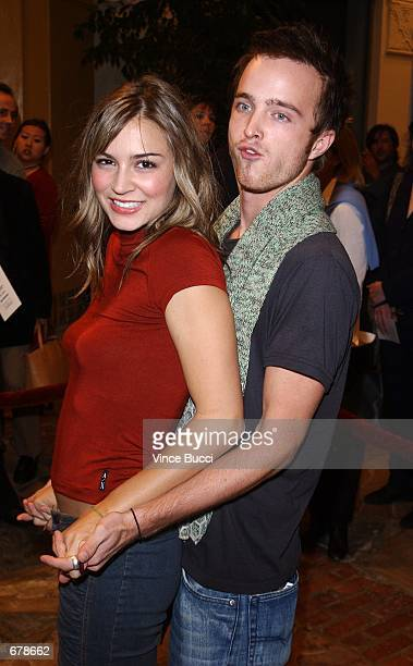 Actors Samaire Armstrong and Aaron Paul attend the premiere of the film Shallow Hal November 1 2001 in Los Angeles CA