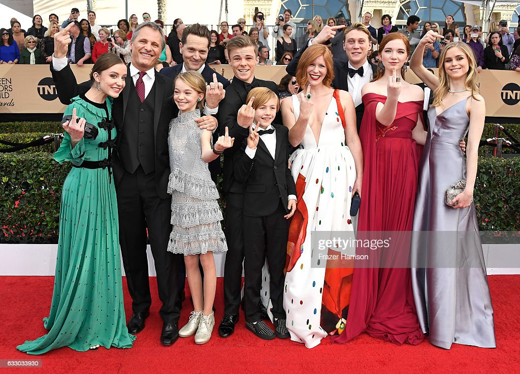 Actors Samantha Isler, Viggo Mortensen, Matt Ross (back), Shree Crooks (front), Nicholas Hamilton (back), Charlie Shotwell (front), Trin Miller, George MacKay, Annalise Basso, and Erin Moriarty attend The 23rd Annual Screen Actors Guild Awards at The Shrine Auditorium on January 29, 2017 in Los Angeles, California. 26592_008