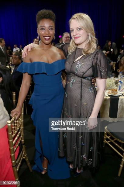 Actors Samira Wiley and Elisabeth Moss attend the 23rd Annual Critics' Choice Awards on January 11 2018 in Santa Monica California
