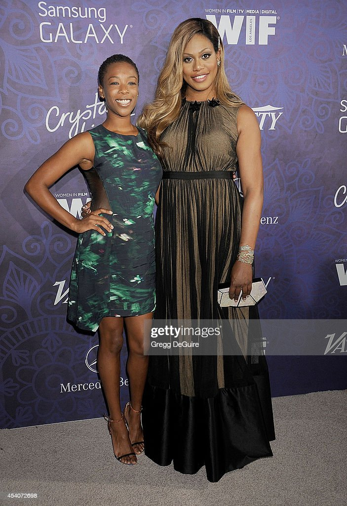 Actors Samira Wiley and Laverne Cox arrive at the Variety And Women In Film Annual Pre-Emmy Celebration at Gracias Madre on August 23, 2014 in West Hollywood, California.