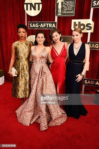 Actors Samira Wiley Yael Stone Kimiko Glenn and Emma Myles attend The 23rd Annual Screen Actors Guild Awards at The Shrine Auditorium on January 29...