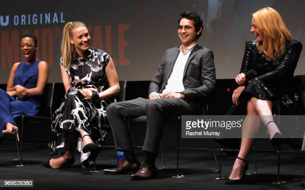 Actors Samira Wiley Yvonne Strahovski Max Minghella and Elisabeth Moss speak onstage at Hulu's The Handmaid's Tale FYC at Samuel Goldwyn Theater on...