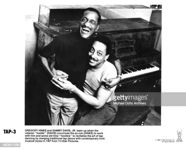 Actors Sammy Davis Jr and Gregory Hines pose on the set of the movie Tap circa 1989