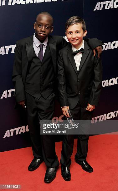 Actors Sammy Williams and Michael Ajao attend the UK Premiere of Attack The Block at Vue Leicester Square on May 4 2011 in London England
