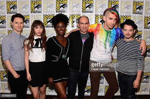 Actors Samuel Barnett Hannah Marks Jade Eshete Showrunner Robert Cooper Executive Producer Max Landis and Elijah Wood attend the Dirk Gently press...