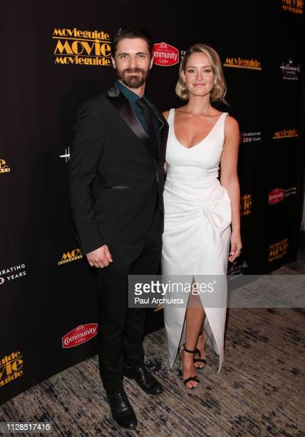 Actors Samuel Hunt and Merritt Patterson visit the Press Room for the 27th Annual Movieguide Awards Gala at Universal Hilton Hotel on February 08...
