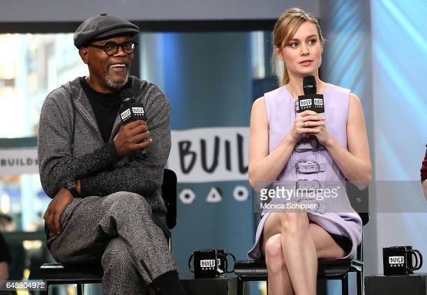 Actors Samuel L Jackson and Brie Larson speak at Build Series Presents The Cast Of 'Kong Skull Island' at Build Studio on March 6 2017 in New York...