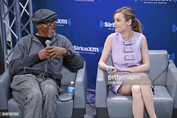Actors Samuel L Jackson and Brie Larson speak during SiriusXM's 'Town Hall' with the cast of 'Kong Skull Island' town hall to air on SiriusXM's...
