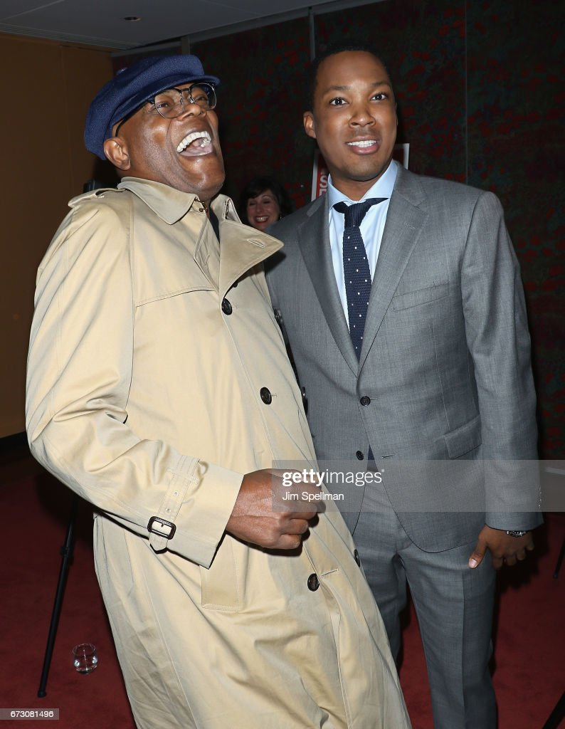 Actors Samuel L. Jackson and Corey Hawkins attend the 'Six Degrees of Separation' Broadway opening night after party at Brasserie 8 1/2 on April 25, 2017 in New York City.
