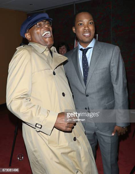 Actors Samuel L Jackson and Corey Hawkins attend the Six Degrees of Separation Broadway opening night after party at Brasserie 8 1/2 on April 25 2017...