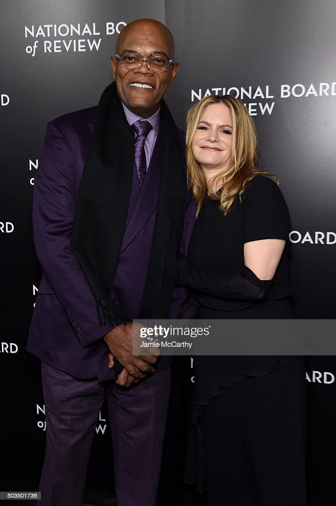 Actors Samuel L. Jackson and Jennifer Jason Leigh attend 2015 National Board of Review Gala at Cipriani 42nd Street on January 5, 2016 in New York City.