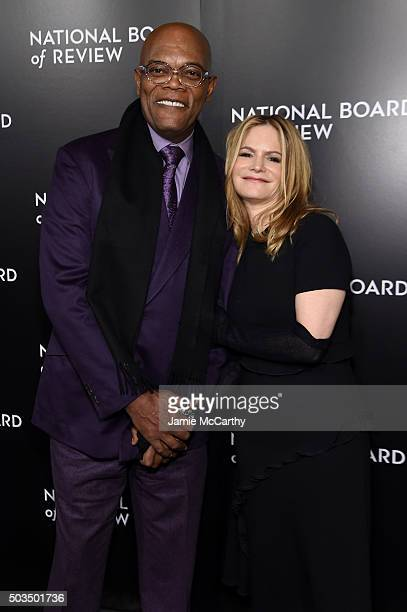 Actors Samuel L Jackson and Jennifer Jason Leigh attend 2015 National Board of Review Gala at Cipriani 42nd Street on January 5 2016 in New York City