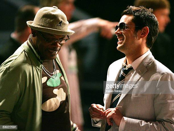 Actors Samuel L Jackson and Johnny Knoxville onstage during the 2005 MTV Movie Awards at the Shrine Auditorium on June 4 2005 in Los Angeles...