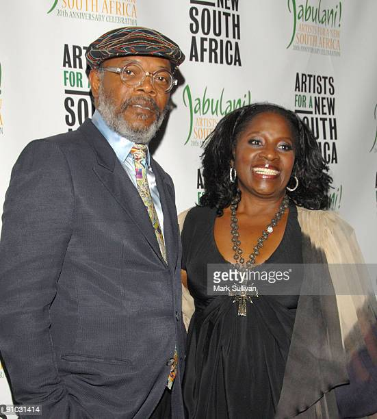 Actors Samuel L Jackson and LaTanya Richardson arrive at the Artists For A New South Africa's Jabulani Celebration at The Wiltern on September 22...