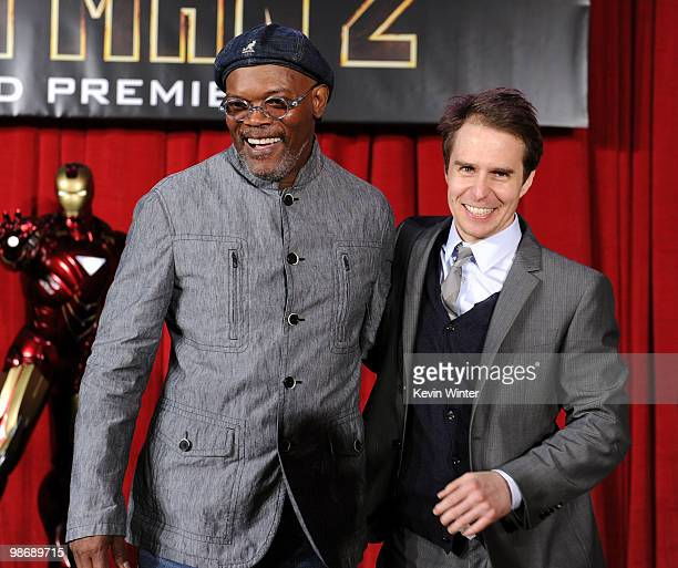 Actors Samuel L Jackson and Sam Rockwell arrive at the world premiere of Paramount Pictures and Marvel Entertainment's Iron Man 2� held at El Capitan...