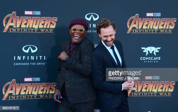 TOPSHOT Actors Sammuel L Jackson and Tom Hiddlestone arrive for the World Premiere of the film 'Avengers Infinity War' in Hollywood California on...