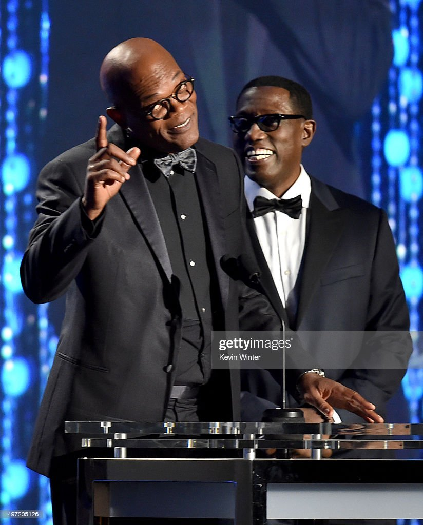 Actors Samuel L. Jackson (L) and Wesley Snipes speak onstage during the Academy of Motion Picture Arts and Sciences' 7th annual Governors Awards at The Ray Dolby Ballroom at Hollywood & Highland Center on November 14, 2015 in Hollywood, California.