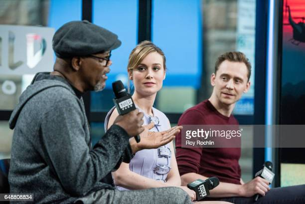 Actors Samuel L Jackson Brie Larson and Tom Hiddleston discuss 'Kong Skull Island' with the build series at Build Studio on March 6 2017 in New York...