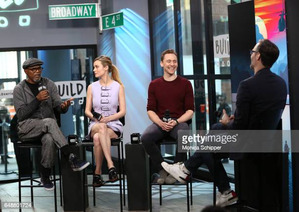 Actors Samuel L Jackson Brie Larson and Tom Hiddleston speak at Build Series Presents The Cast Of 'Kong Skull Island' at Build Studio on March 6 2017...