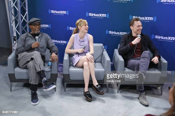 Actors Samuel L Jackson Brie Larson and Tom Hiddleston speak during SiriusXM's 'Town Hall' with the cast of 'Kong Skull Island' town hall to air on...
