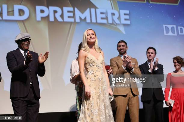 Actors Samuel L Jackson Brie Larson Lee Pace and Directors/Writers Ryan Fleck and Anna Boden speak onstage at the Los Angeles World Premiere of...