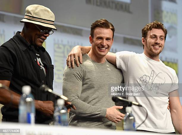 Actors Samuel L Jackson Chris Evans and Aaron TaylorJohnson onstage at Marvel's Hall H Panel for Avengers Age Of Ultron during ComicCon International...